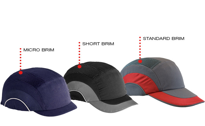 variety of bump cap brim lengths